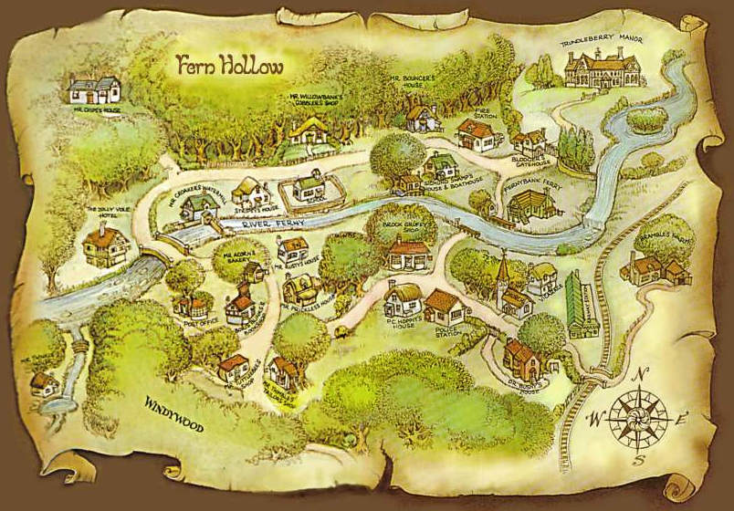 The Map of Fern Hollow appeared on the endpapers of every book