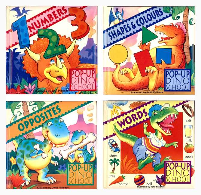 Covers of the four Dino-School Pop-up Books