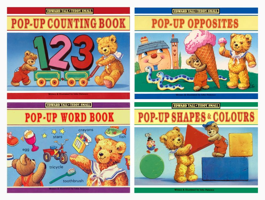 Covers of the four Edward Tall and Teddy Small Educational Pop-up Books